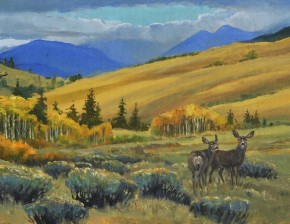 Two Mule Deer: Hat Creek Valley