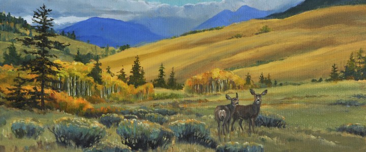 Two Mule Deer: Hat Creek Valley - Acrylics & Oils - Original Artwork - Acrylics, Oils & Watercolours