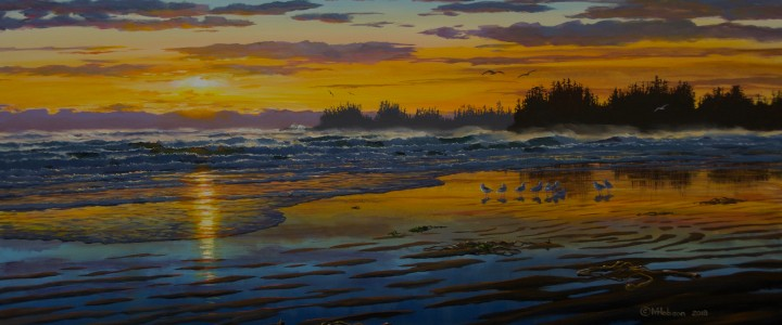 Long Beach Sunset - Acrylics & Oils - Original Artwork - Acrylics, Oils & Watercolours