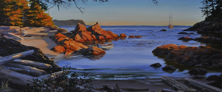 Moser Point at Sunset - Acrylics & Oils - Original Artwork - Acrylics, Oils & Watercolours