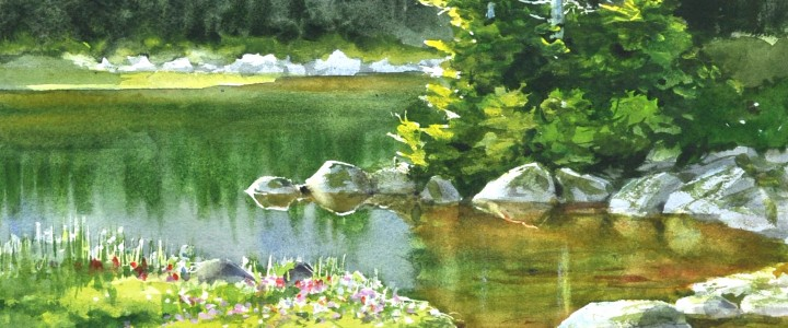 Mountain Pond - All Originals Available - Original Artwork - Acrylics, Oils & Watercolours