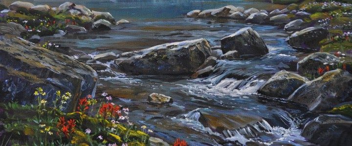 Opabin Creek: Lake O'Hara - Acrylics & Oils - Original Artwork - Acrylics, Oils & Watercolours