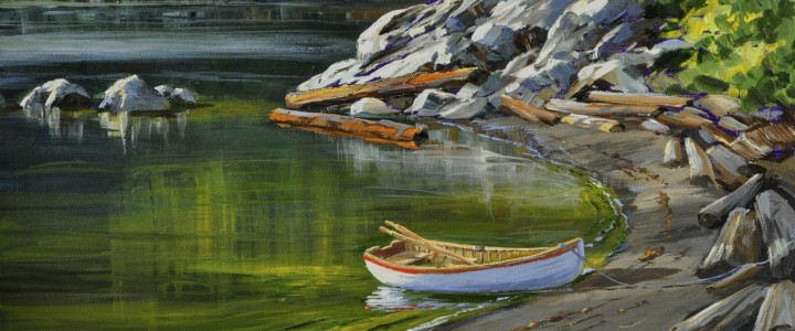 Row Boat at Grandma's Beach - Acrylics & Oils - Original Artwork - Acrylics, Oils & Watercolours