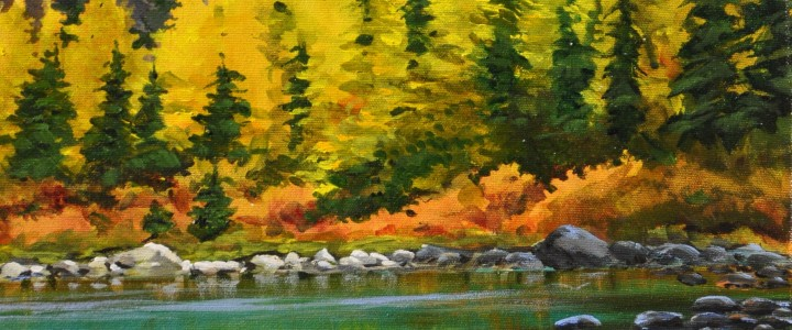 Schaffer Lake and Mount Huber - Lake O'Hara - Acrylics & Oils - Original Artwork - Acrylics, Oils & Watercolours