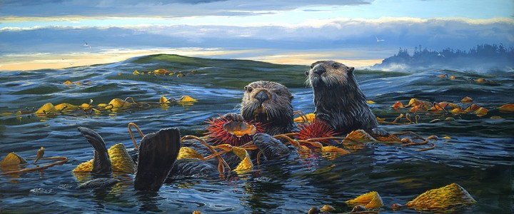 Sea Otters: Breakfast On The High Seas - Acrylics & Oils - Original Artwork - Acrylics, Oils & Watercolours