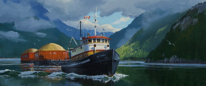 Tug: MV Songhee In Howe Sound - Acrylics & Oils - Original Artwork - Acrylics, Oils & Watercolours