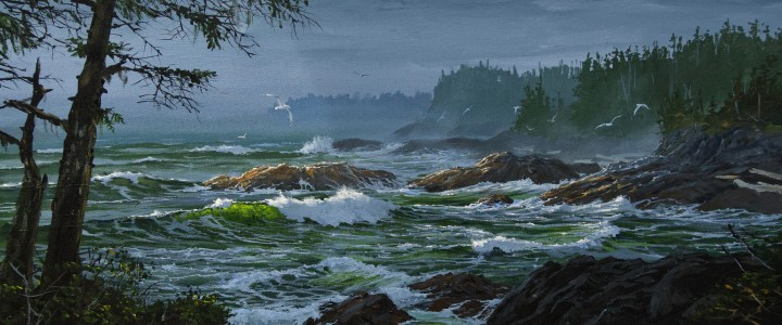 Ucluelet Rugged Shoreline - Acrylics & Oils - Original Artwork - Acrylics, Oils & Watercolours