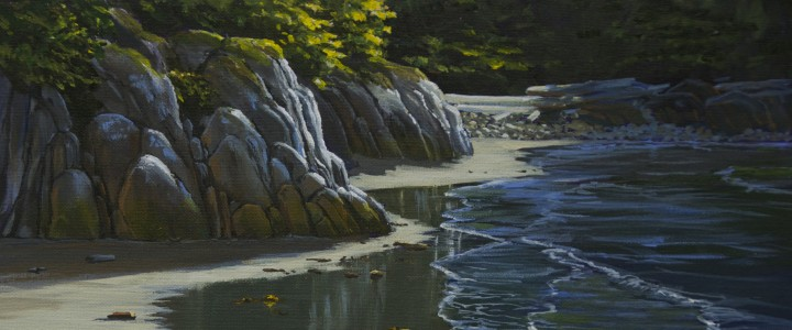 Wet Sand at West Beach: Calvert Island - Acrylics & Oils - Original Artwork - Acrylics, Oils & Watercolours