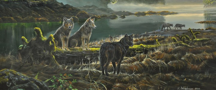 Wolves: Family Outing - Acrylics & Oils - Original Artwork - Acrylics, Oils & Watercolours