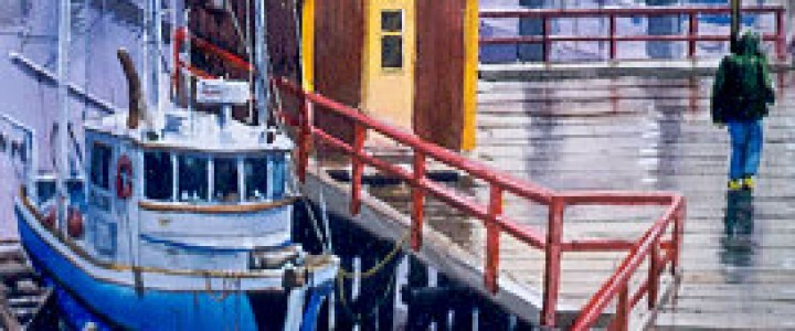 Fourth Street Dock In The Rain - Watercolours - Original Artwork - Acrylics, Oils & Watercolours