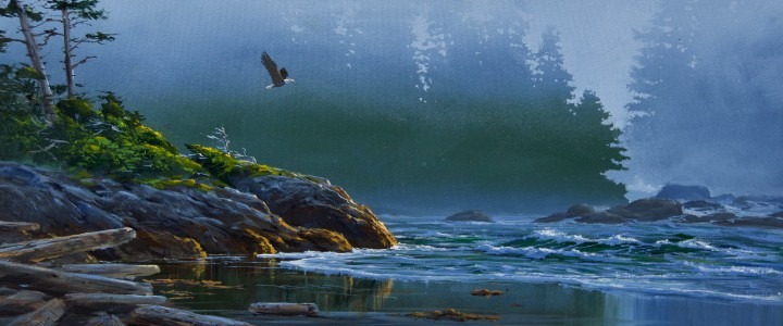 Bald Eagle: Flying Into The Rain - Acrylics & Oils - Original Artwork - Acrylics, Oils & Watercolours