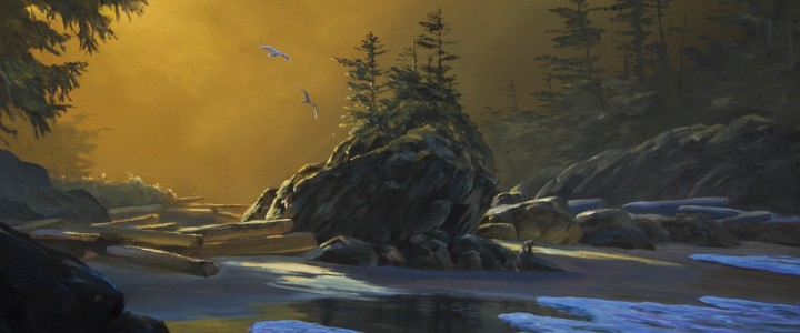 Second Tonquin Beach At Dawn - Acrylics & Oils - Original Artwork - Acrylics, Oils & Watercolours