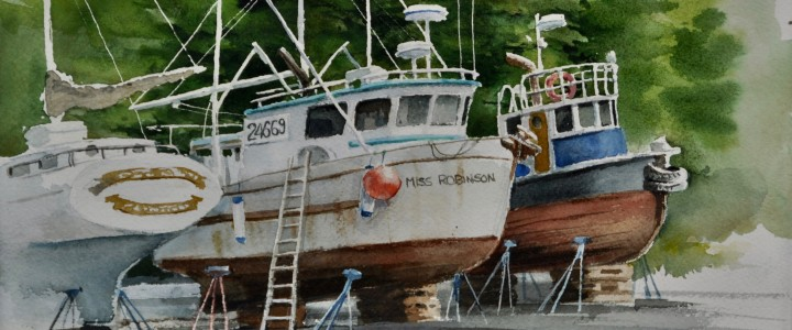 Shearwater B.C.: Time For Maintenance - All Originals Available - Original Artwork - Acrylics, Oils & Watercolours