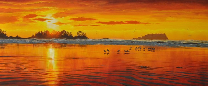 Chesterman Beach: Sunset Over Frank Island - Acrylics & Oils - Original Artwork - Acrylics, Oils & Watercolours