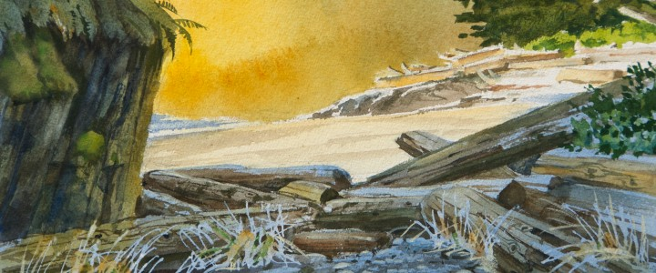 Golden Glow At Ucluth Beach - All Originals Available - Original Artwork - Acrylics, Oils & Watercolours