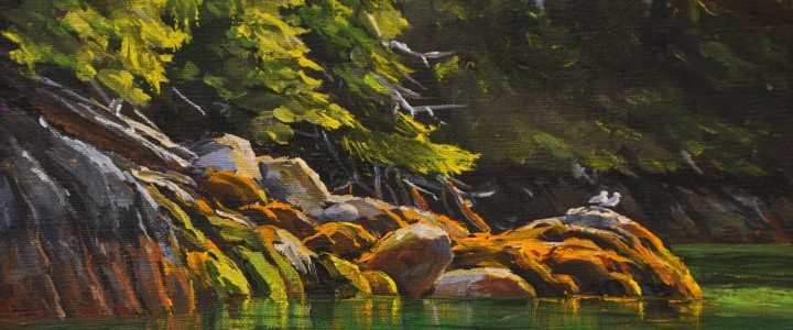 Lemmens Inlet: Emerald Shoreline - Acrylics & Oils - Original Artwork - Acrylics, Oils & Watercolours