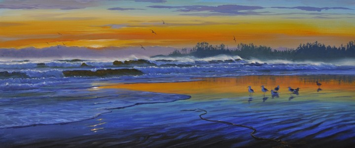 long beach spin drift,acrylics & oils, long beach, sunset, gulls, original acrylic painting, artwork, 2011, tofino, ucluelet, west coast, vancouver island, british columbia, b.c.,