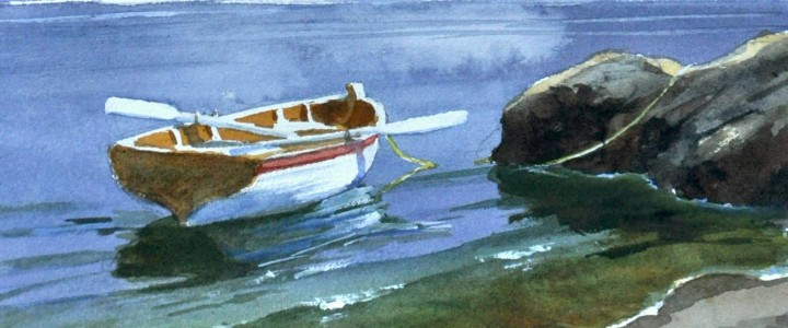 Row Boat In The Inlet - All Originals Available - Original Artwork - Acrylics, Oils & Watercolours