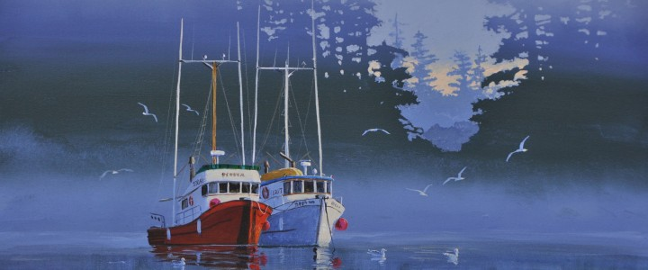 waiting for the opening,acrylics & oils, waiting, boats, mists, inlet, original acrylic painting, artwork, 2011, tofino, ucluelet, west coast, vancouver island, british columbia, b.c.,