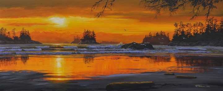 White Sand Beach at Sunset - Acrylics & Oils - Original Artwork - Acrylics, Oils & Watercolours